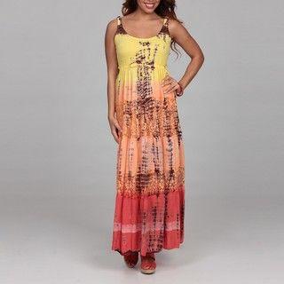 Lola P Womens Tiered Tie Dye Dress