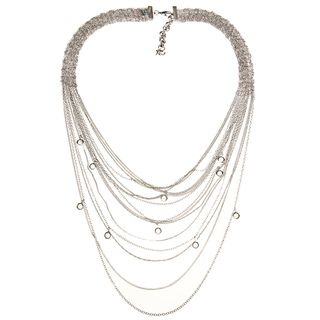 ABS by Allen Schwartz Silvertone CZ Mesh Multi row Fashion Necklace