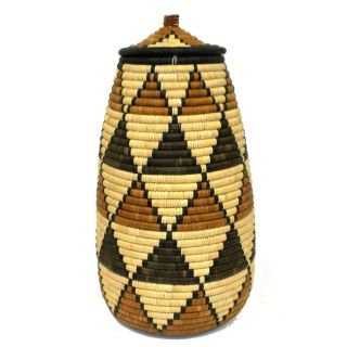 Palm Brown and Green Triangles Ukhamba Beer Basket (South Africa
