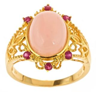 Yach Gold over Silver Pink Opal and Ruby Ring