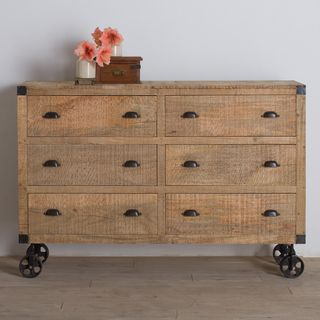 Agra Reclaimed Wood Six Drawer Dresser (India)