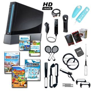 Nintendo Wii Black Mega Bundle with 20 Games and Much More