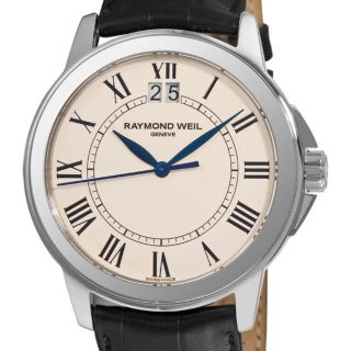 Raymond Weil Mens Tradition Leather Strap Beige Face Watch