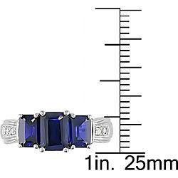 10k Gold Emerald cut Created Blue Sapphire and Diamond Ring