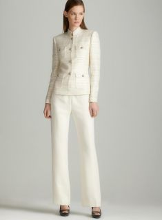 Tahari Ivory novel pants suit