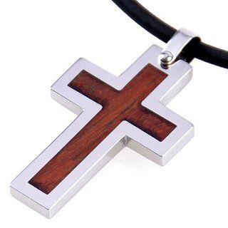DonDon Kautschuk Halskette und Edelstahl Kreuz Anhänger mit Echtholz