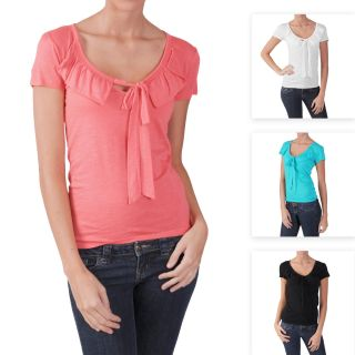 Adi Designs Juniors Ruffled V neck Short sleeve Top