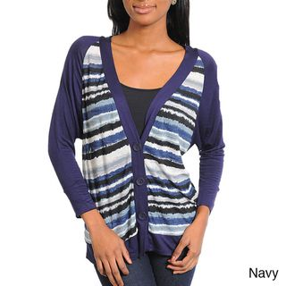 Stanzino Womens Striped Long Sleeve Cardigan
