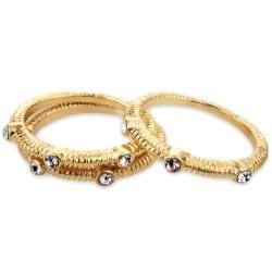 Goldtone Crystal 3 piece Stackable Ring Set