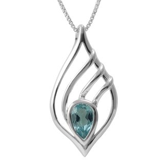 Sterling Silver Teardrop Blue Topaz Necklace (Thailand)