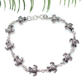 Sterling Silver Sea Turtles Link Bracelet (Thailand) Today $41.99 5.0