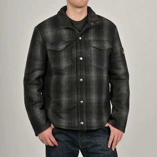 Chaps Mens Black Wool blend Plaid Shirt Jacket