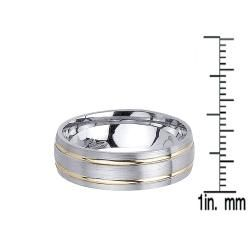 14k Two tone Gold Mens Double Groove Wedding Band