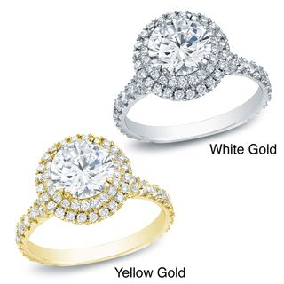 14k Gold 2ct TDW Certified Round Diamond Halo Engagement Ring (H I