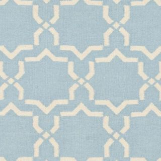 Moroccan Light Blue/ Ivory Dhurrie Wool Rug (6 Square)