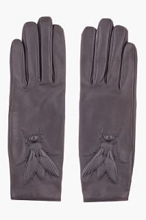 Kenzo Black Embossed Leather Glove for women