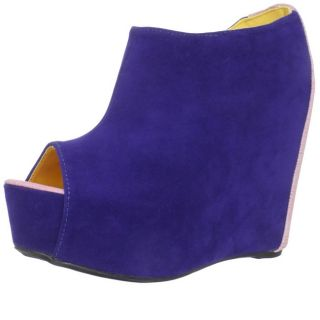 Fahrenheit Womens Mica 01A Blue Suede Wedge Pump