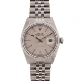 Pre owned Rolex Mens Datejust Stainless Steel Silver Tapestry Dial