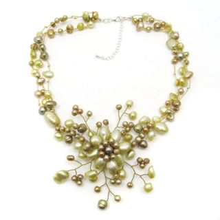Golden Sunflower Blossom Freshwater Dyed Pearl Necklace (Thailand