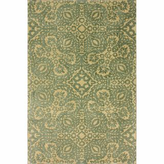 Handmade Lace Natural Wool Rug (5 x 8)
