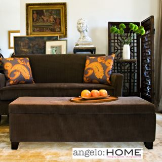 angeloHOME Kent Vintage Brown Wall Hugger Storage Ottoman