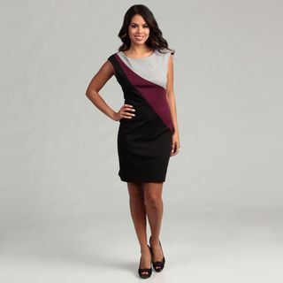Connected Apparel Womens Berry Colorblock Dress