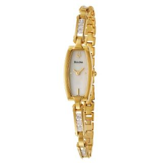 Bulova Womens Crystal Yellow Goldplated Stainless Steel Quartz
