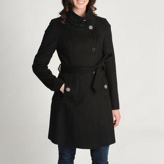 Tahari Womens Izzi Wool blend Belted Coat