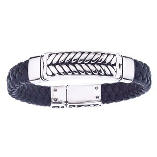 Stainless Steel and Black Leather Mens Braided Bracelet