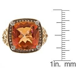 Yach 14k Yellow Gold Sunset Topaz and 1/4ct TDW Brown Diamond Ring