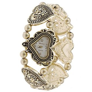 Geneva Womens Platinum Beaded Heart Stretch Watch