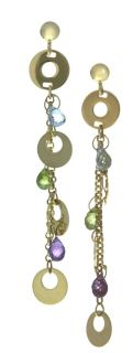 Multi Semi Precious Stones & Circles Drop Earrings