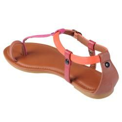 Journee Collection Womens Maniac 24 Multi color T strap Sandals