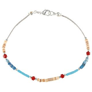 Southwest Moon Liquid Metal Multi gemstone Heishi 7.5 inch Bracelet