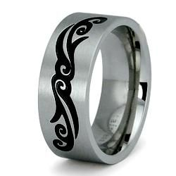 Two tone Stainless Steel Mens Tattoo Design Ring