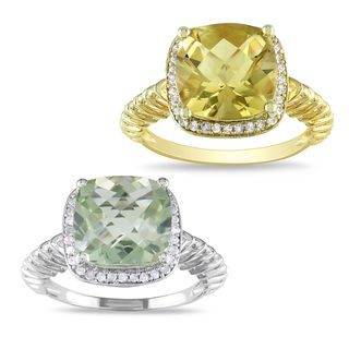 Miadora Goldplated Silver Gemstone and 1/6ct TDW Diamond Ring (H I, I3