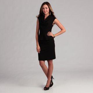 Calvin Klein Womens Career Lux Drape Neck Peplum Dress FINAL SALE