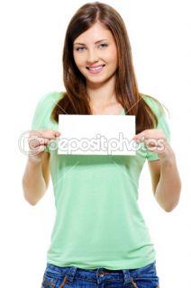 Attractive woman holding white card  Stock Photo © Vitaly Valua