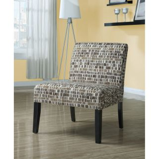 Beige/ Olive Green Textured Brick Fabric Accent Chair