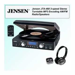 Jensen JTA 460  3 Speed Stereo Turntable with Headphone Kit