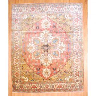 Indo Hand knotted Serapi Rust/Ivory Wool Rug (12 x 15)