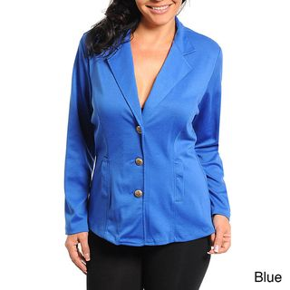 Stanzino Womens Plus Size Button Front Blazer
