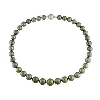 Miadora 14k White Gold Tahitian Pearl and Diamond Necklace (G H, I1 I2