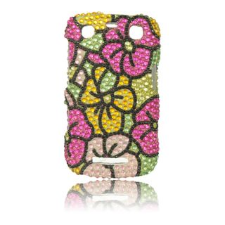 Luxmo Green Hawaiian Flower Rhinestone Protector Case for BlackBerry