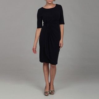 Connected Apparel Womens Elbow Sleeve Side Drape ITY Navy Dress