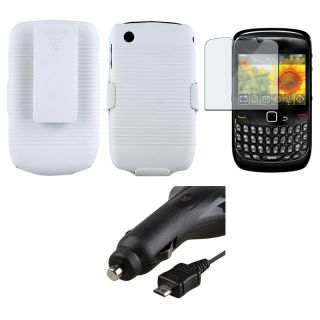 White Holster/ Screen Protector/ Car Charger for BlackBerry Curve 8520
