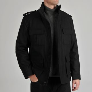 Alfani Mens Black Wool blend Zip front Coat