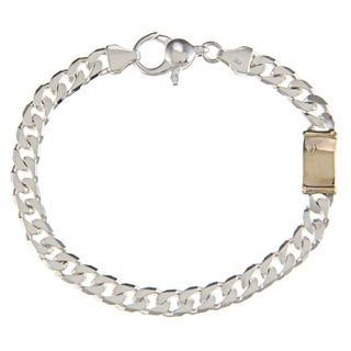 Sterling Silver and 18k Gold 6 mm Single Bar Link Bracelet