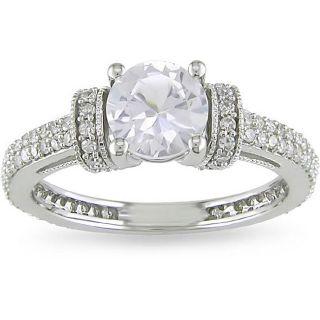 Miadora 10k Gold Created White Sapphire and 1/2ct TDW Diamond Ring (H