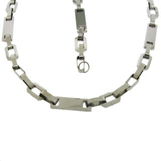 Stainless Steel Elongated Link Necklace and Bracelet Set